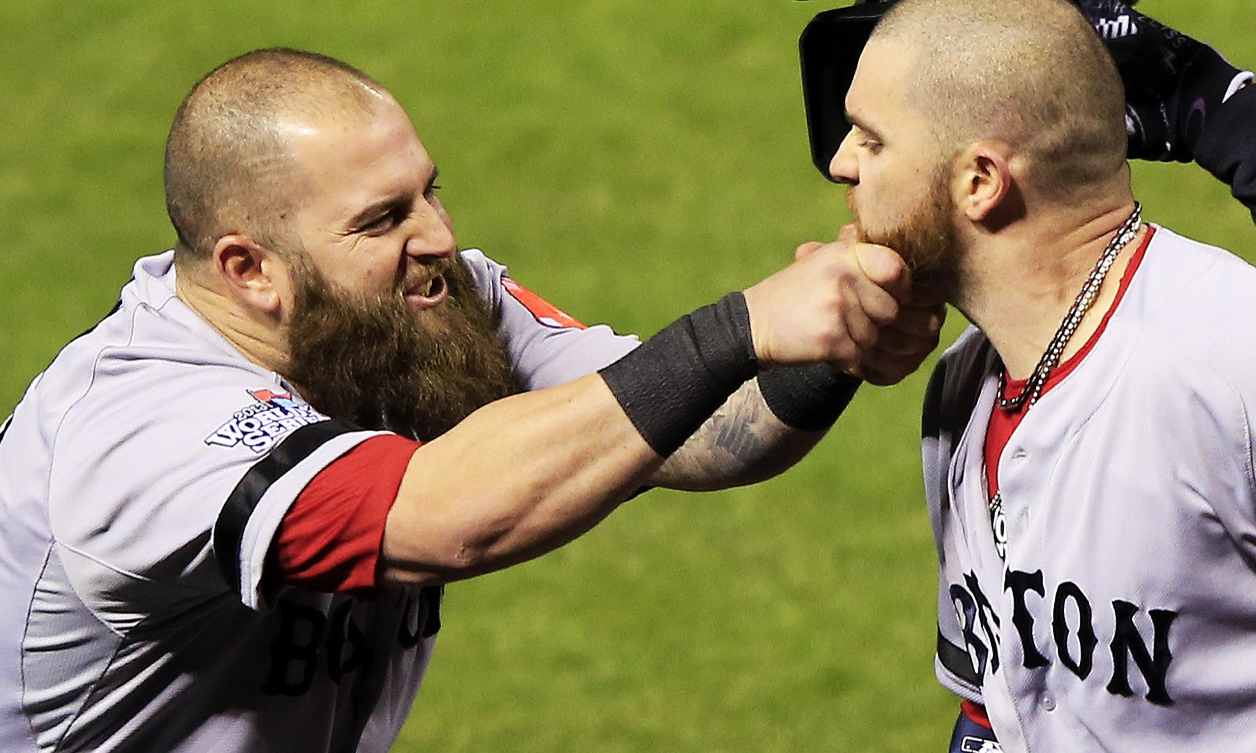 Mike Napoli and Jonny Gomes of the Boston Red Sox