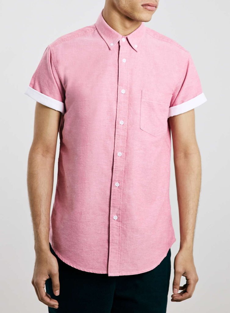 pink contrast casual oxford short sleeve shirt