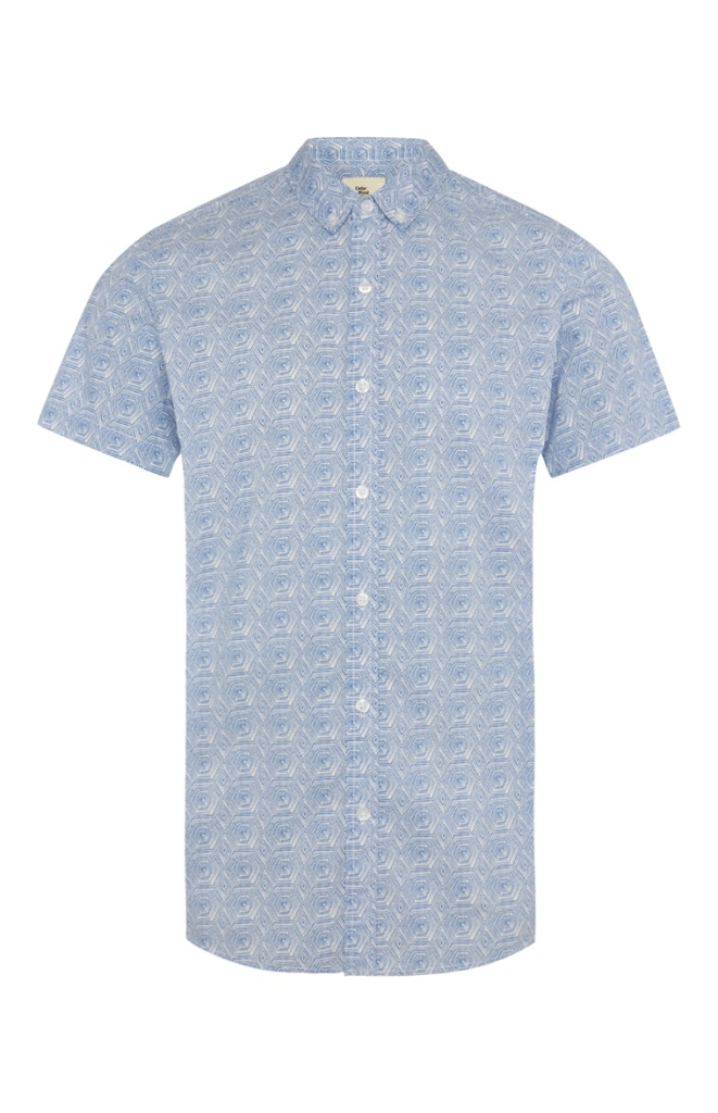 Primark Blue Tile Print Short Sleeve Shirt