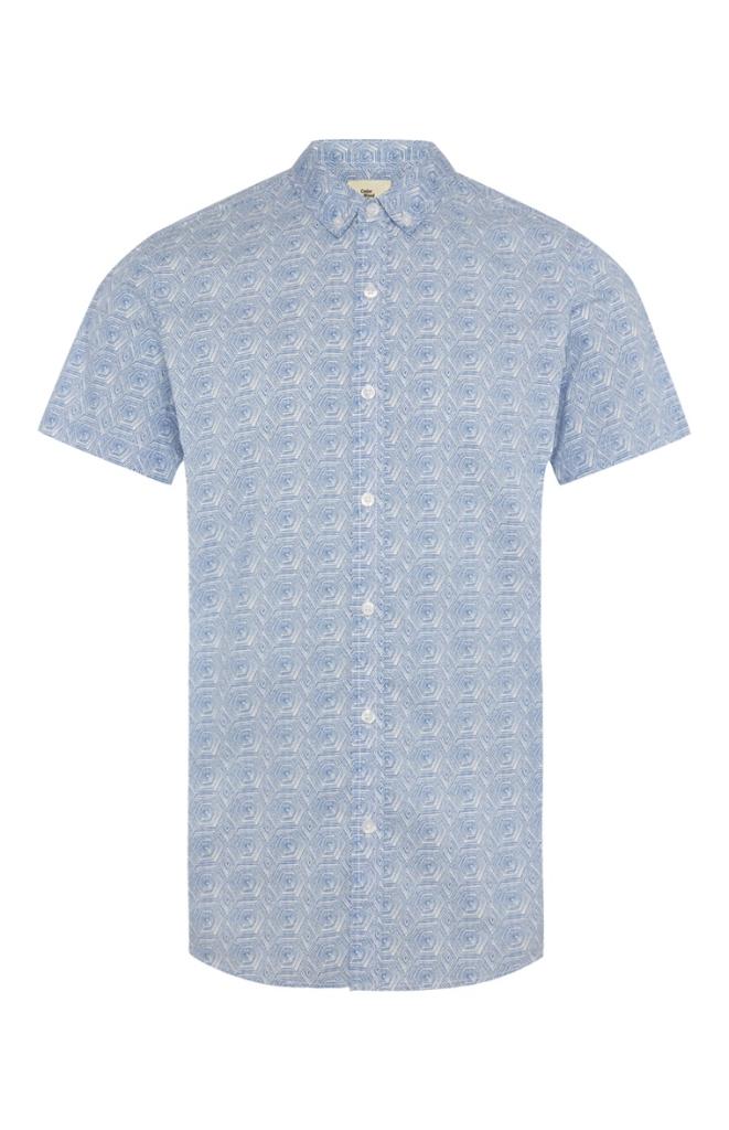 Primark Blue Tile Print Short Sleeve Shirt