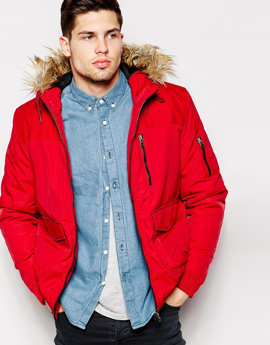Parka Jacket With Contrast Yoke In Red