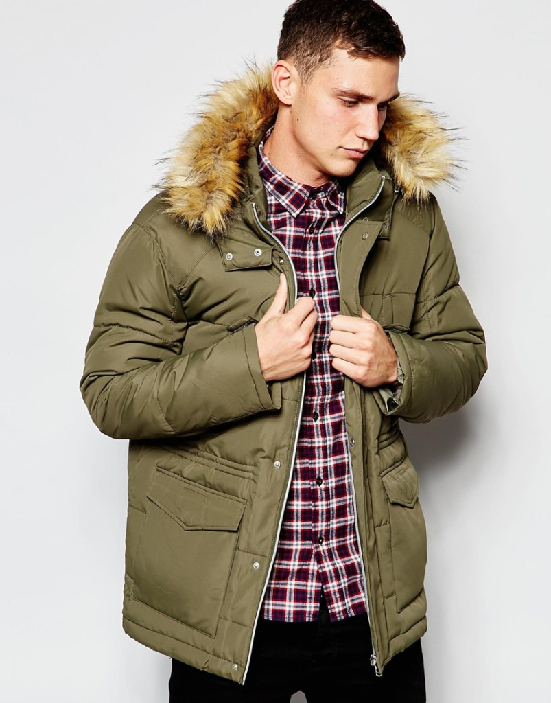Quilted Fishtail Parka with Faux Fur Hood In Khaki - £80