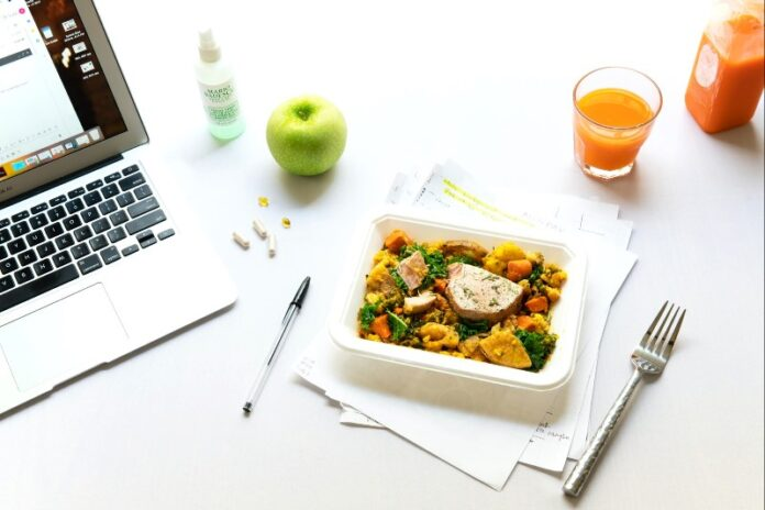 Computer Healthy Lunch and Vitamins