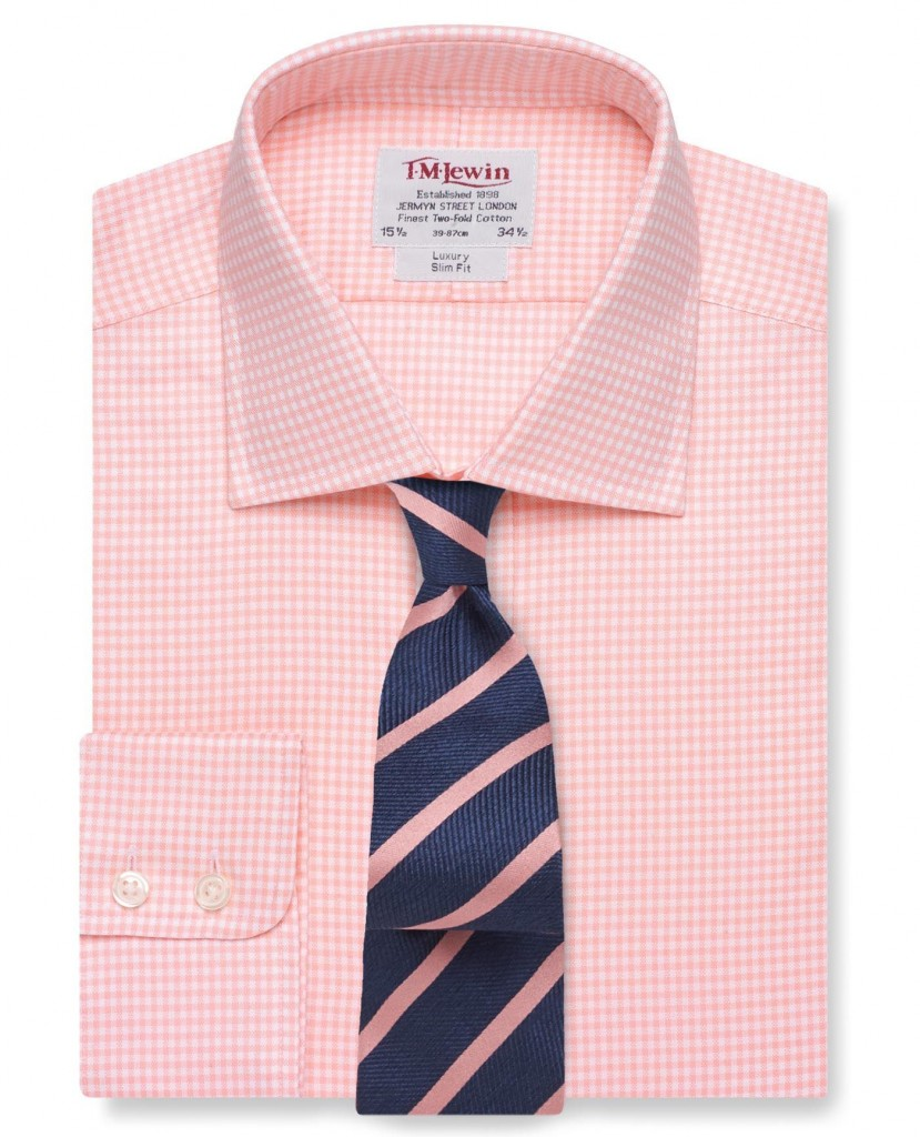 Slim Fit Light Pink Check Oxford Shirt