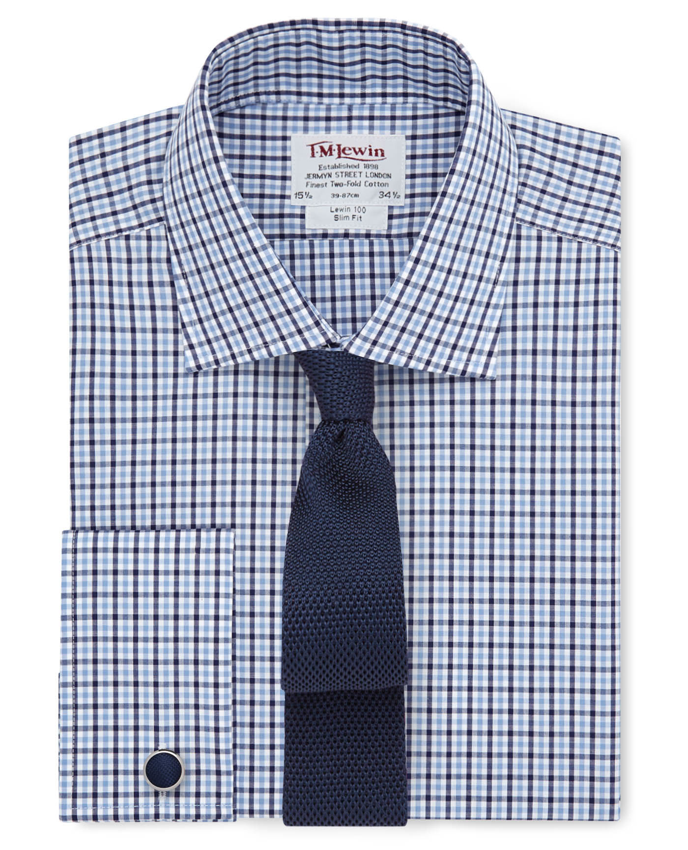 Slim fit blue navy gingham check shirt thebeardmag for Navy blue gingham shirt