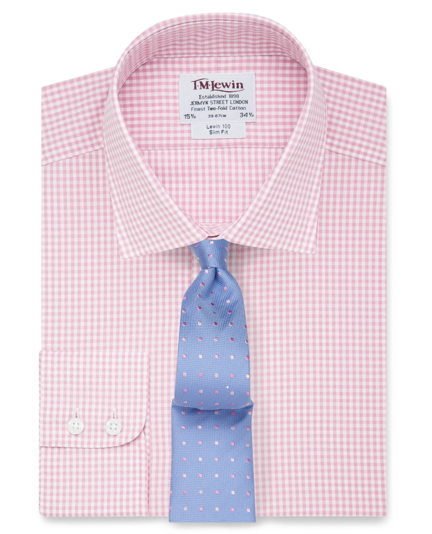 Slim fit light pink small gingham check shirt thebeardmag for Slim fit gingham check shirt