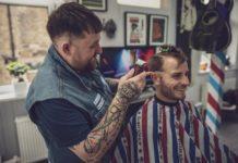 STU WALLWORK-WALSH working in barbershop