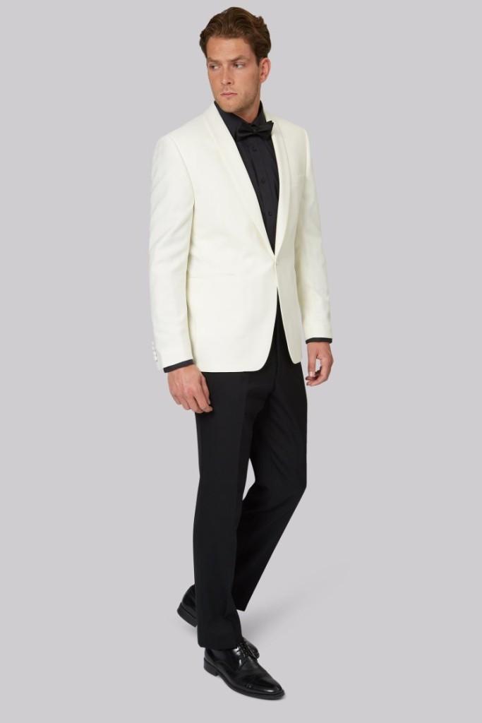 Regular Fit White Shawl Collar Tuxedo Jacket