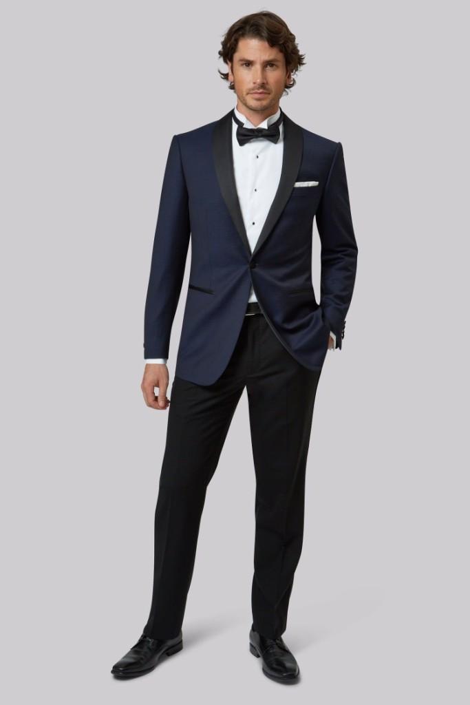 Tailored Fit Navy Jacquard Tuxedo Jacket