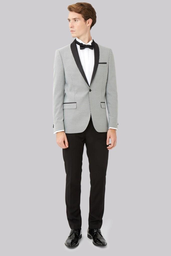 Skinny Fit Black and White Jacquard Tuxedo Jacket