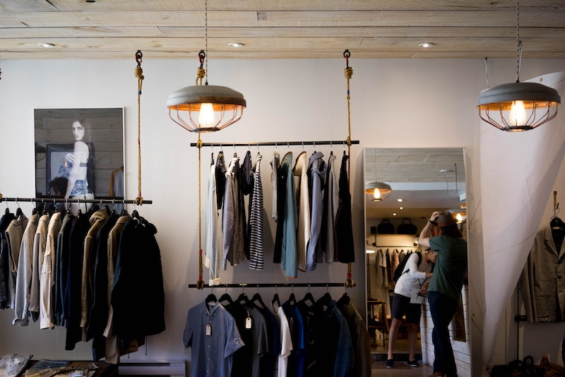 Clothes in shop hanging