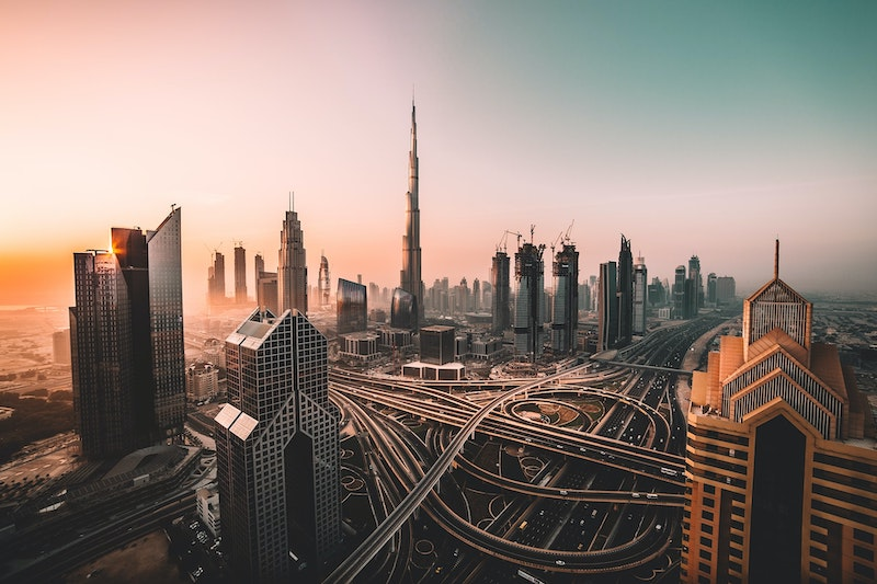 Dubai city sunrise