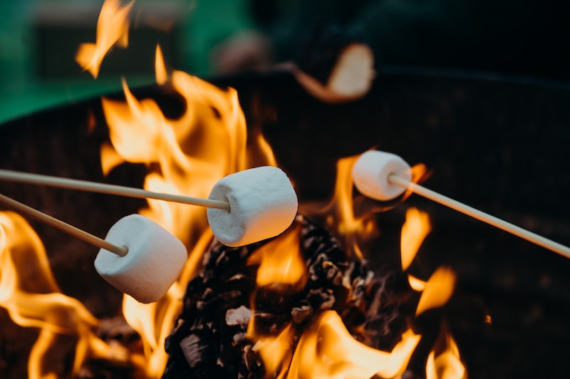 marshmallows roasting on fire