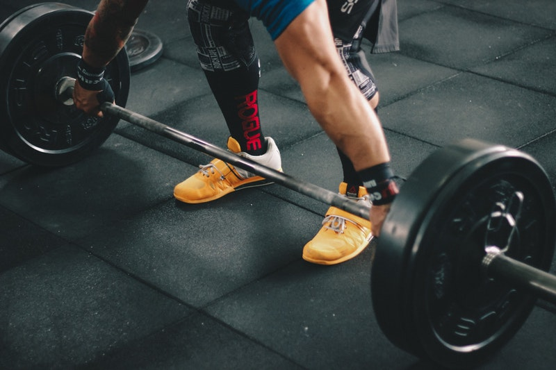 person about to perform a deadlift