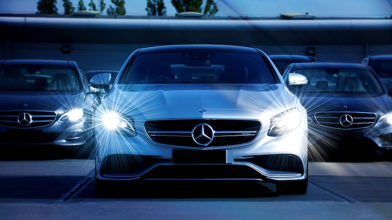 mercedes benz with headlights