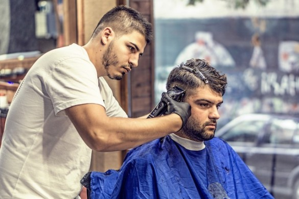 man getting haircut