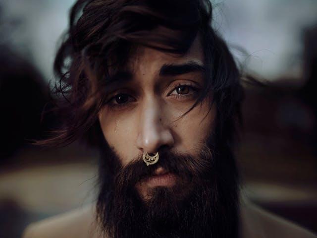 sad bearded man
