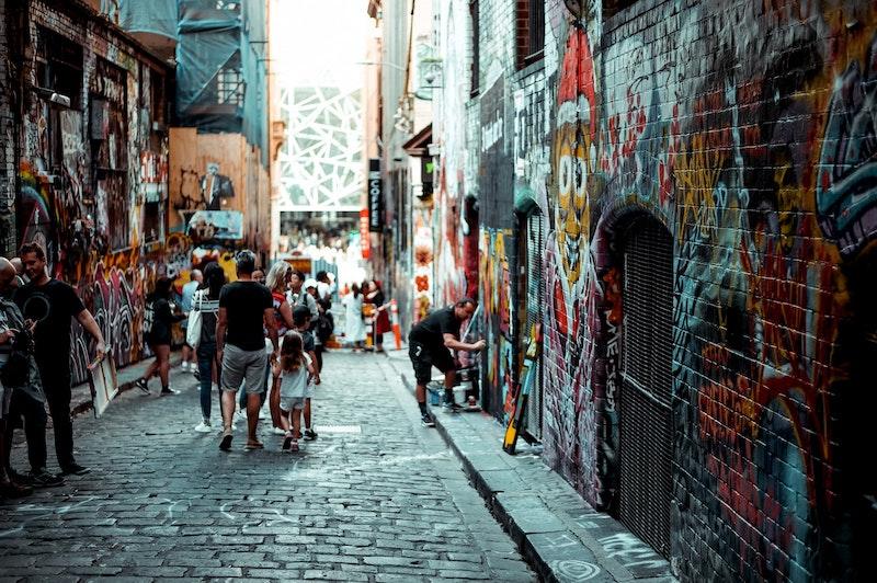 view down melbourne street art lane