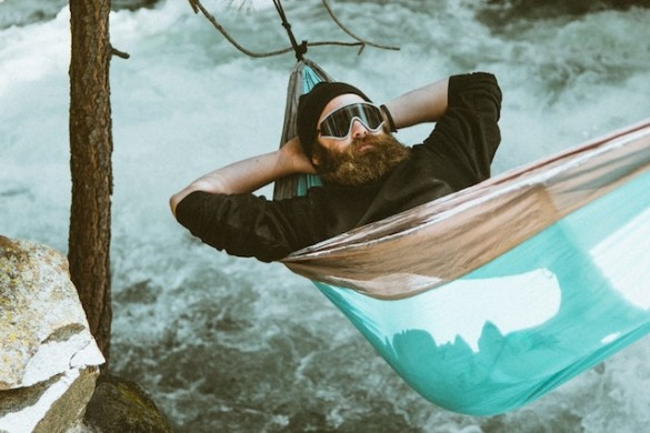 bearded man on hammock