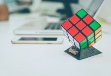 rubiks cube on desk