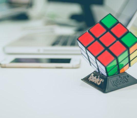rubiks cube on desk