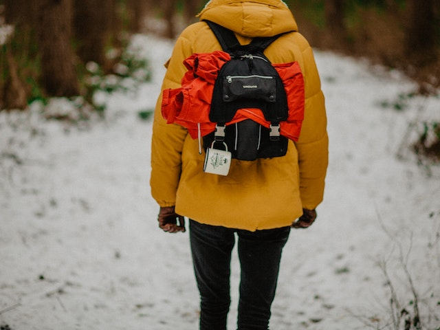 man with a travel backpack