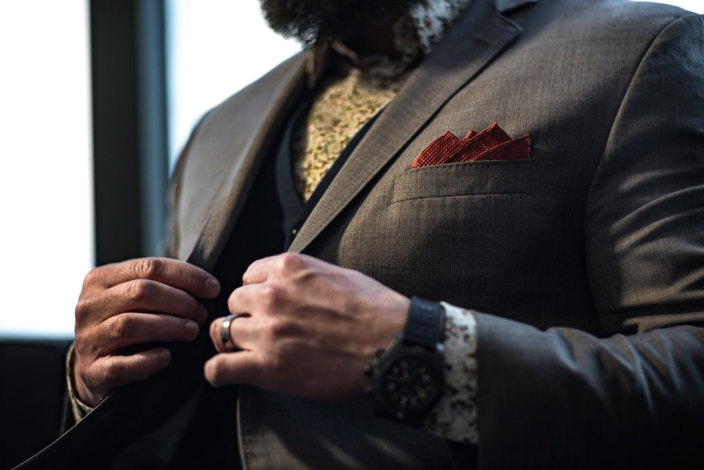 stylish man with pocket square