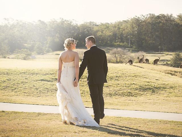 wedding couple in sun